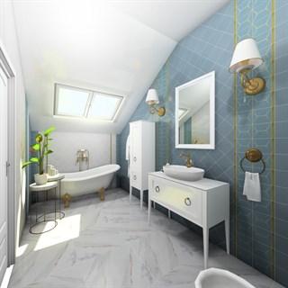 "Проект №1208. Ванная комната на мансарде ""Гармония"""