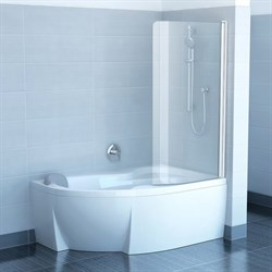 шторки для ванн CVSK1 ROSA 140/150 L белая+транспарент - фото 8151