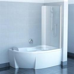 шторки для ванн CVSK1 ROSA 140/150 R белая+транспарент - фото 8154