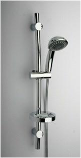 50CR124/GBL Душевая стойка с лейкой, шлангом, мыльницей. крепеж 560 мм, D 25, 5 видов струй - фото 9239