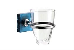 Держатель для зубных щеток и стакан Kubik синий - фото 9304