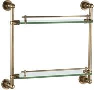 3852 Полка стекляная двойная 43см настенная Aquanet , латунь (189273)