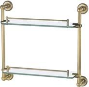 4652 Полка стекляная двойная 43,3см настенная Aquanet, золото (189289)