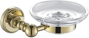4685 Мыльница стекло с держателем, круглая, Aquanet, золото (189284)