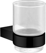 5684MB Стакан стекло с держателем Aquanet, черн.мат (241902)
