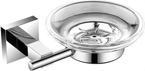 6185 Мыльница стекло с держателем, круглая Aquanet, хром (202105)