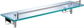 6187 Полка стеклянная 56см Aquanet, хром (202115)